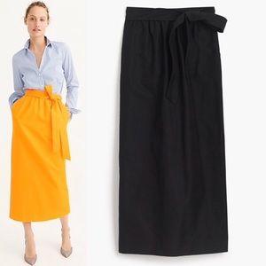 J CREW FAILLE Maxi Skirt Cotton Silk Tie